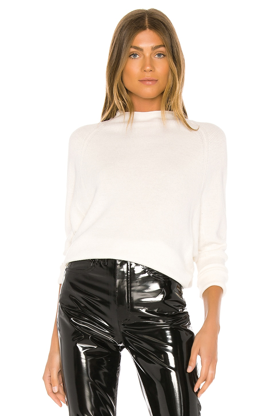 Michael Stars Jette Mock Neck Pullover in Chalk