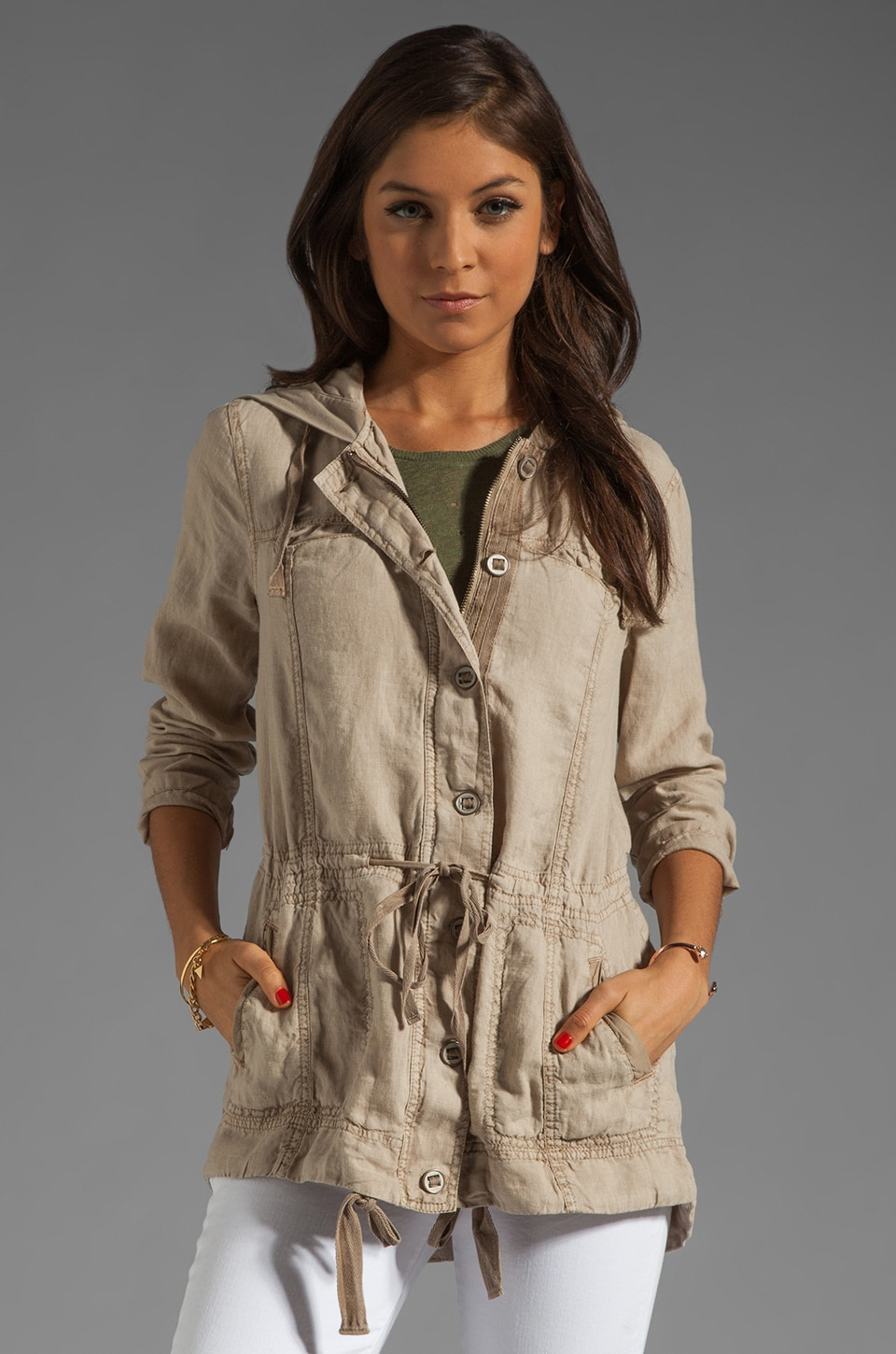Michael Stars Linen Anorak Hooded Jacket in Toast
