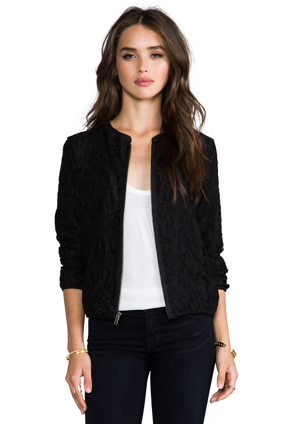 Michael Stars Lace Bomber Jacket in Black