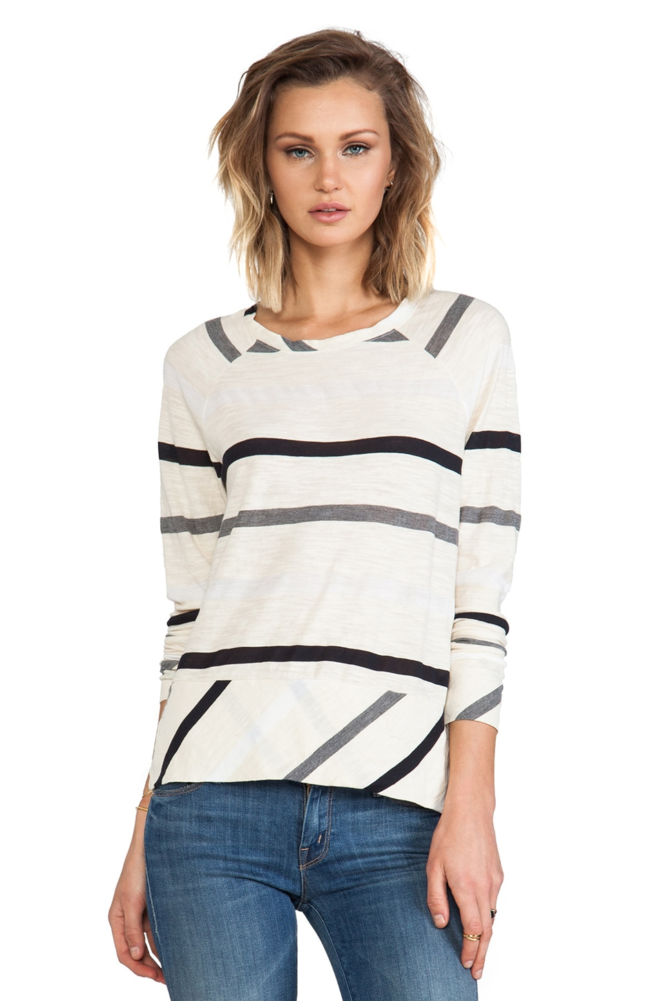 Michael Stars Long Sleeve Raglan Sweatshirt in Vanilla