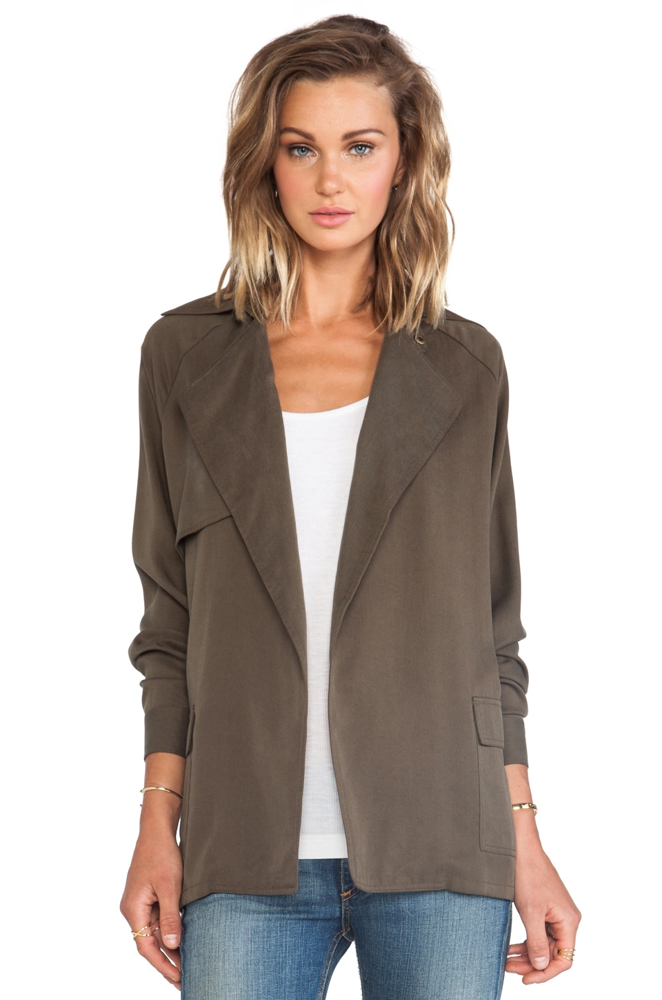 Michael Stars Long Sleeve Belted Trench in Military