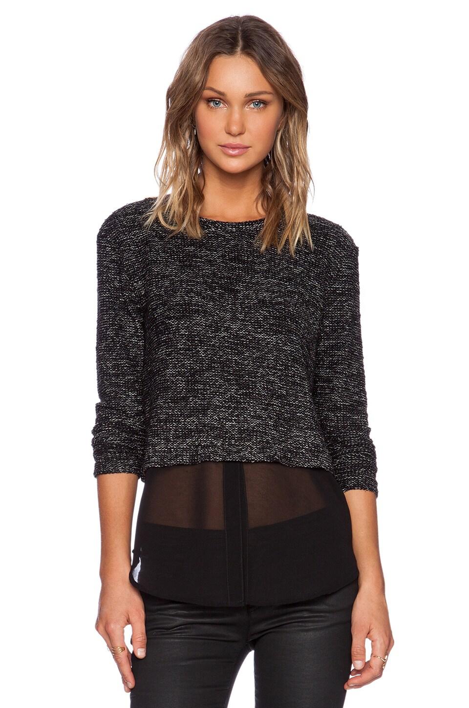 Michael Stars Long Sleeve Crop Pullover in Black