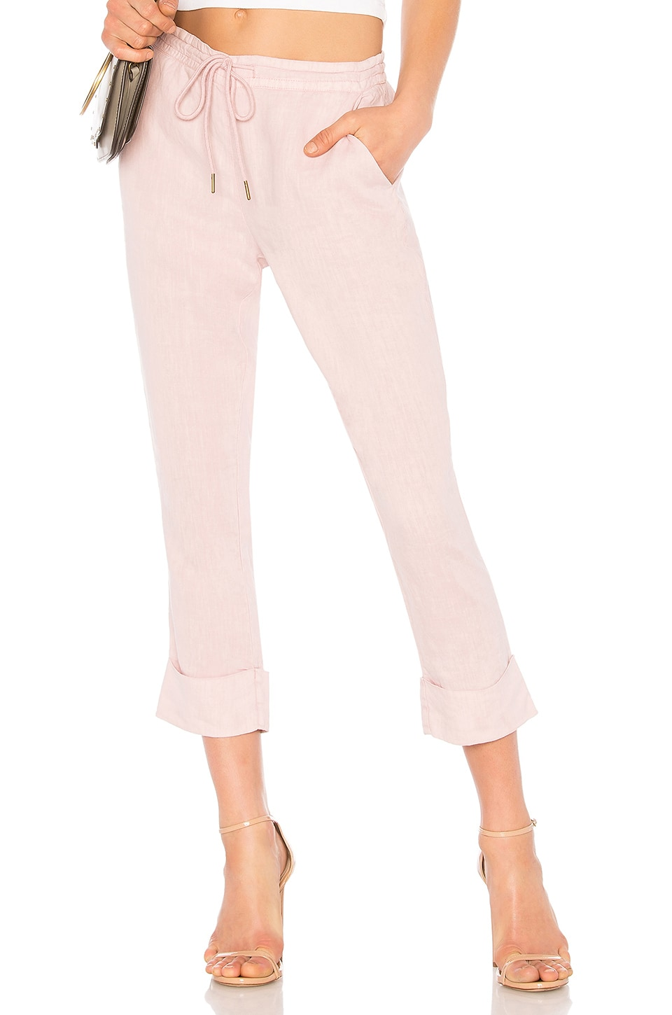 Michael Stars Linen Cuffed Trouser in Tickle