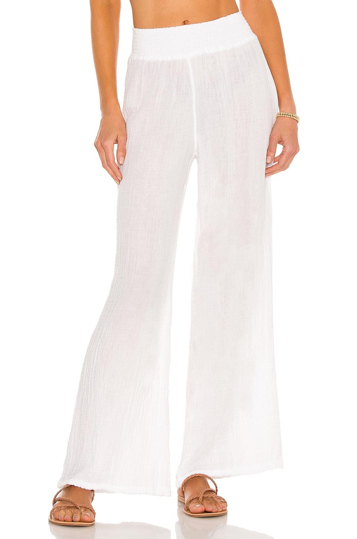 Michael Stars Smocked Wide Leg Pant in White