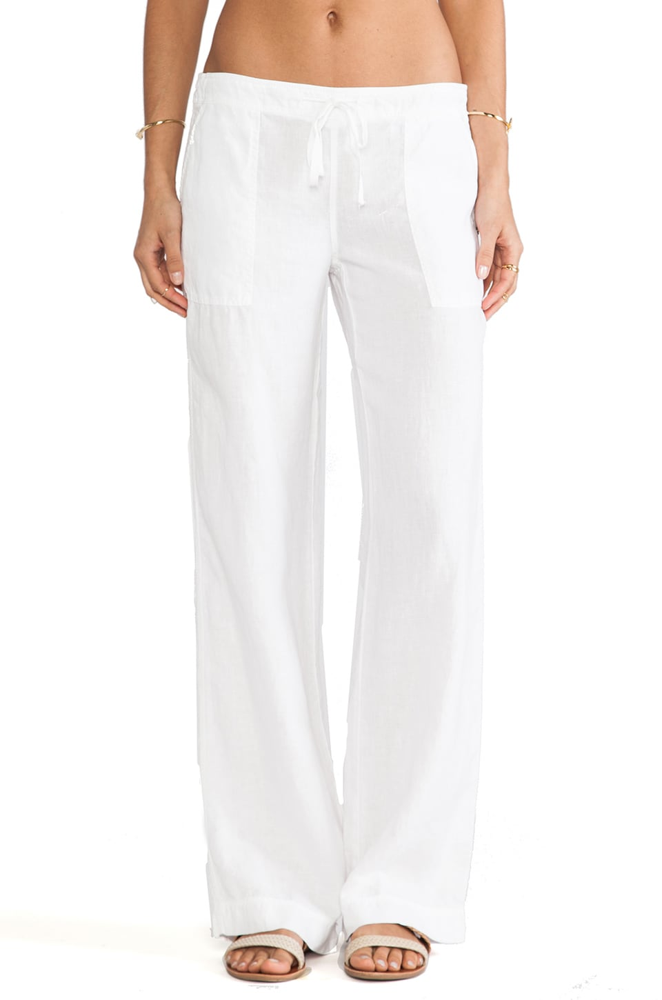 Michael Stars Linen Drawstring Pant in White