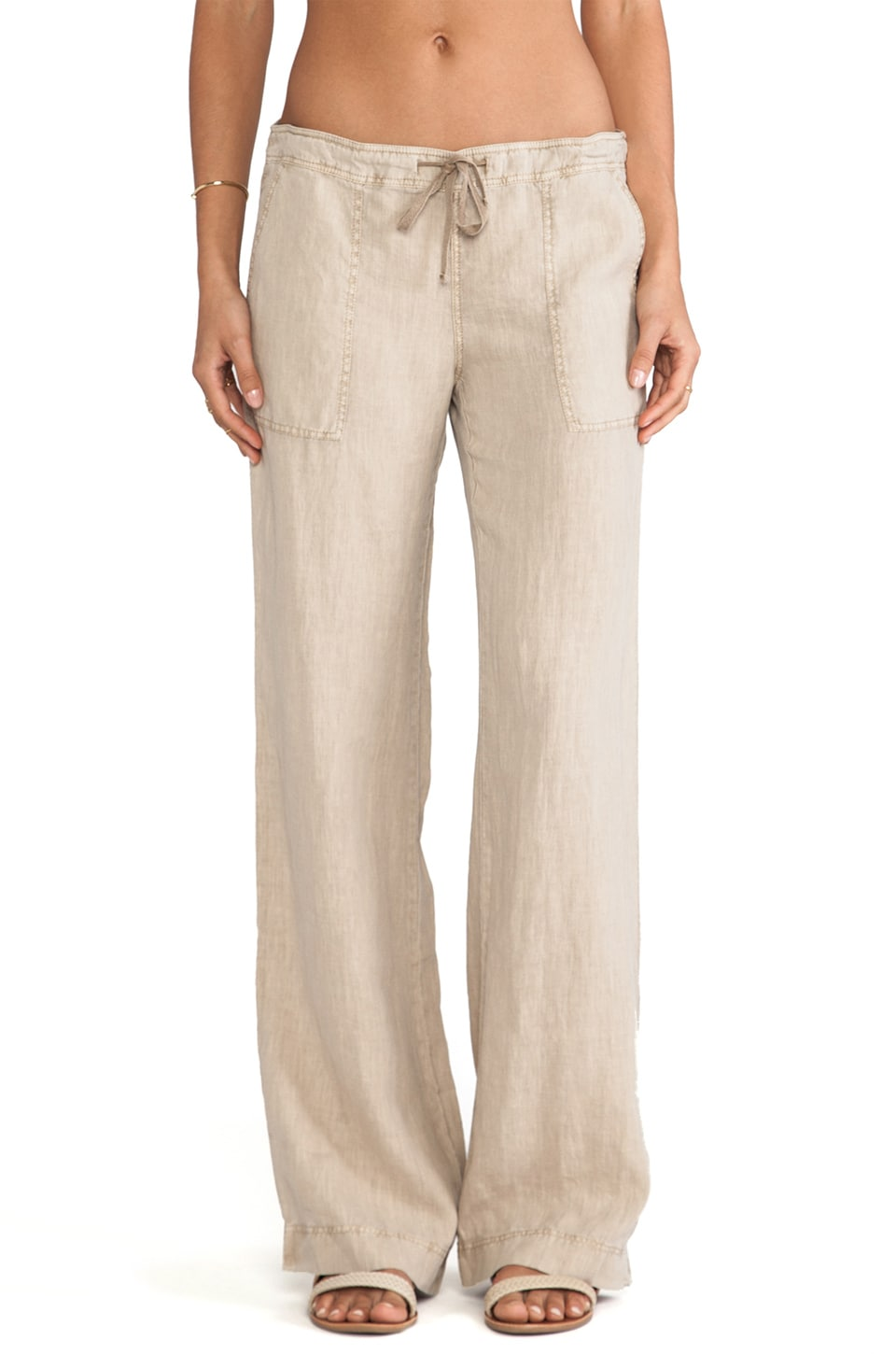Michael Stars Linen Drawstring Pant in Toast