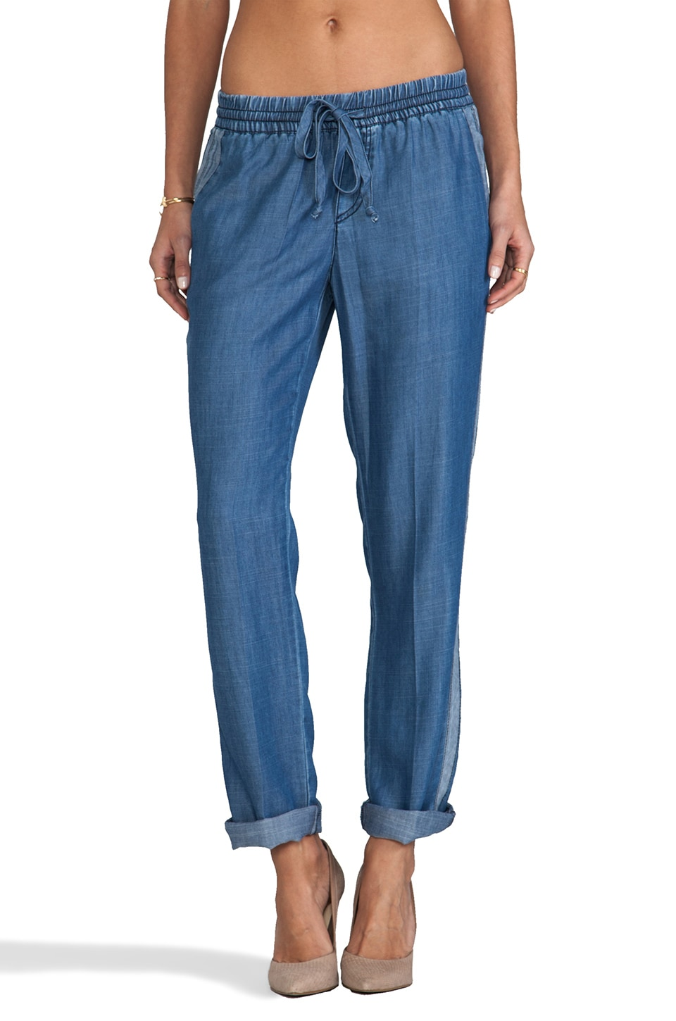 Michael Stars Denim Tencel Drawstring Pant in Chambray