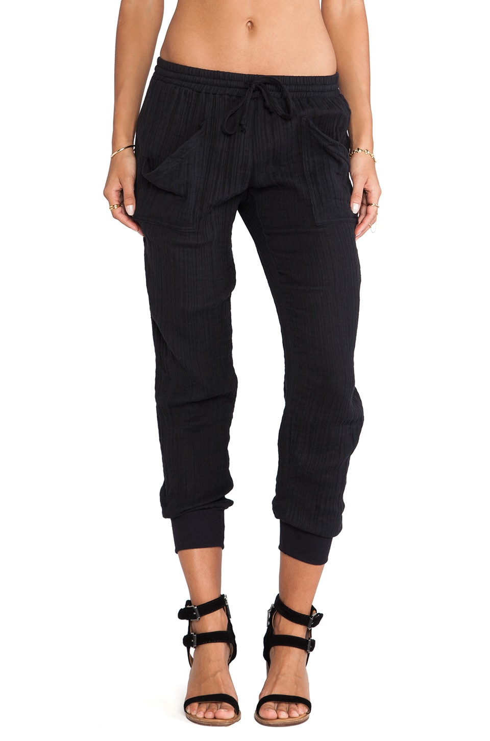 Michael Stars Rib Cuff Pants in Black