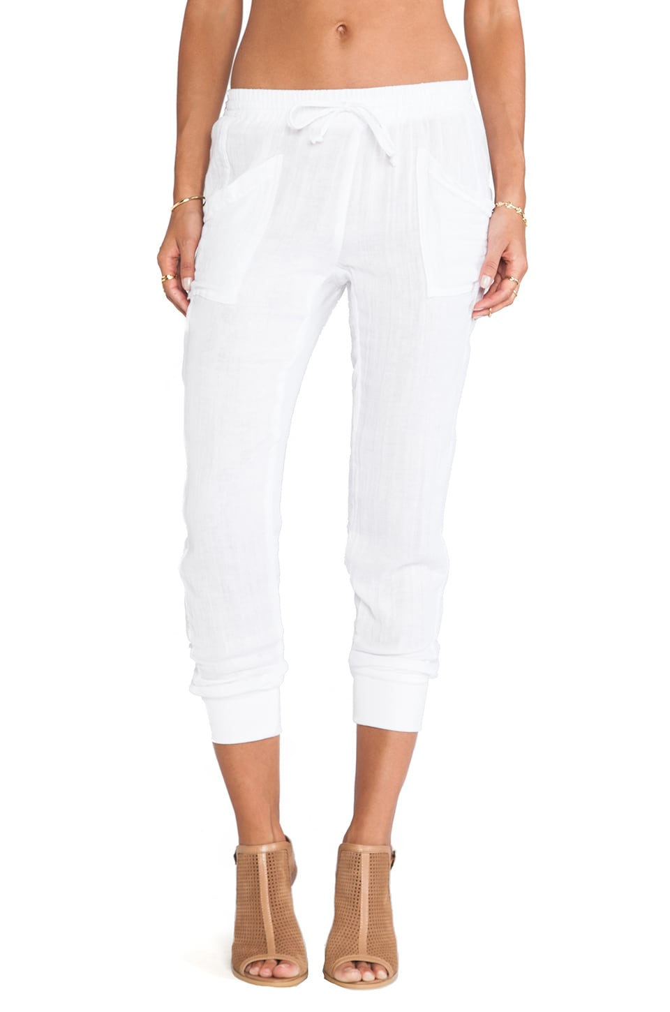 Michael Stars Rib Cuff Pants in White