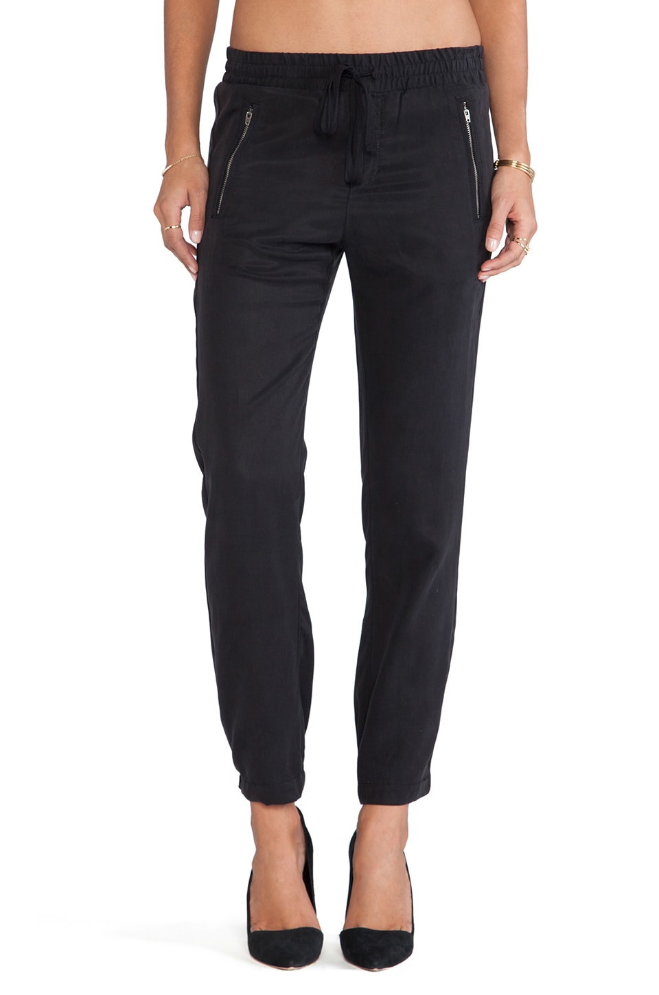 Michael Stars Drawstring Pull-on Pant with Zippers in Black