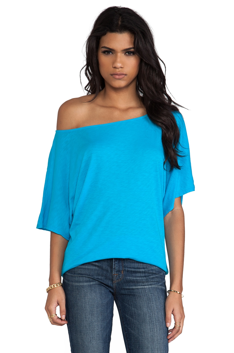 Michael Stars Luxe Slub Off the Shoulder Dolman in Atlantic
