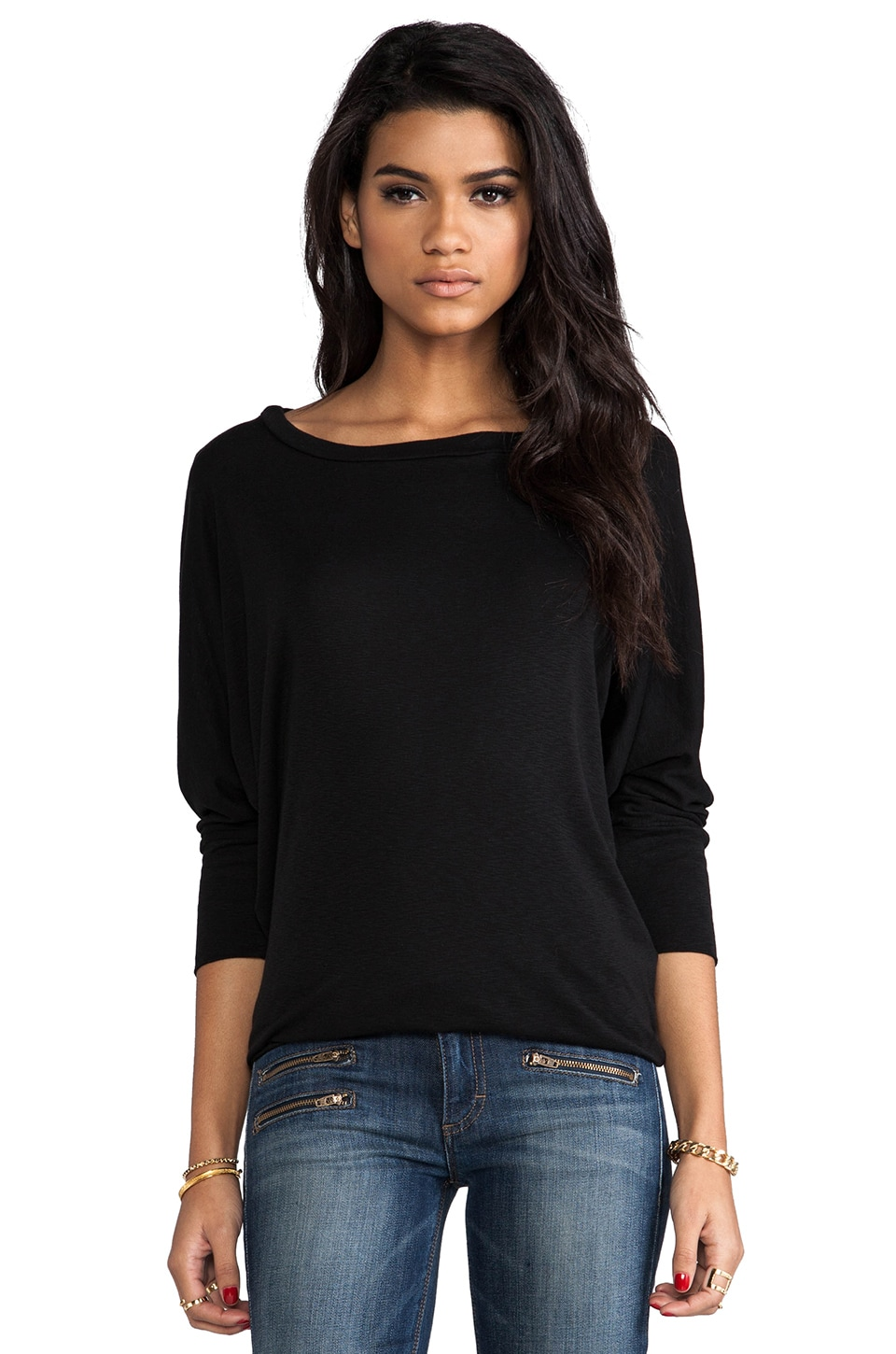Michael Stars 1x1 Slub Wide Neck Dolman Top in Black