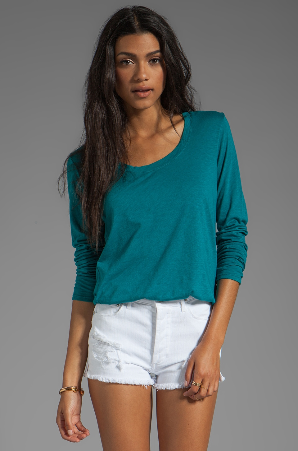Michael Stars Long Sleeve Scoop Neck Hi-Low in Jade