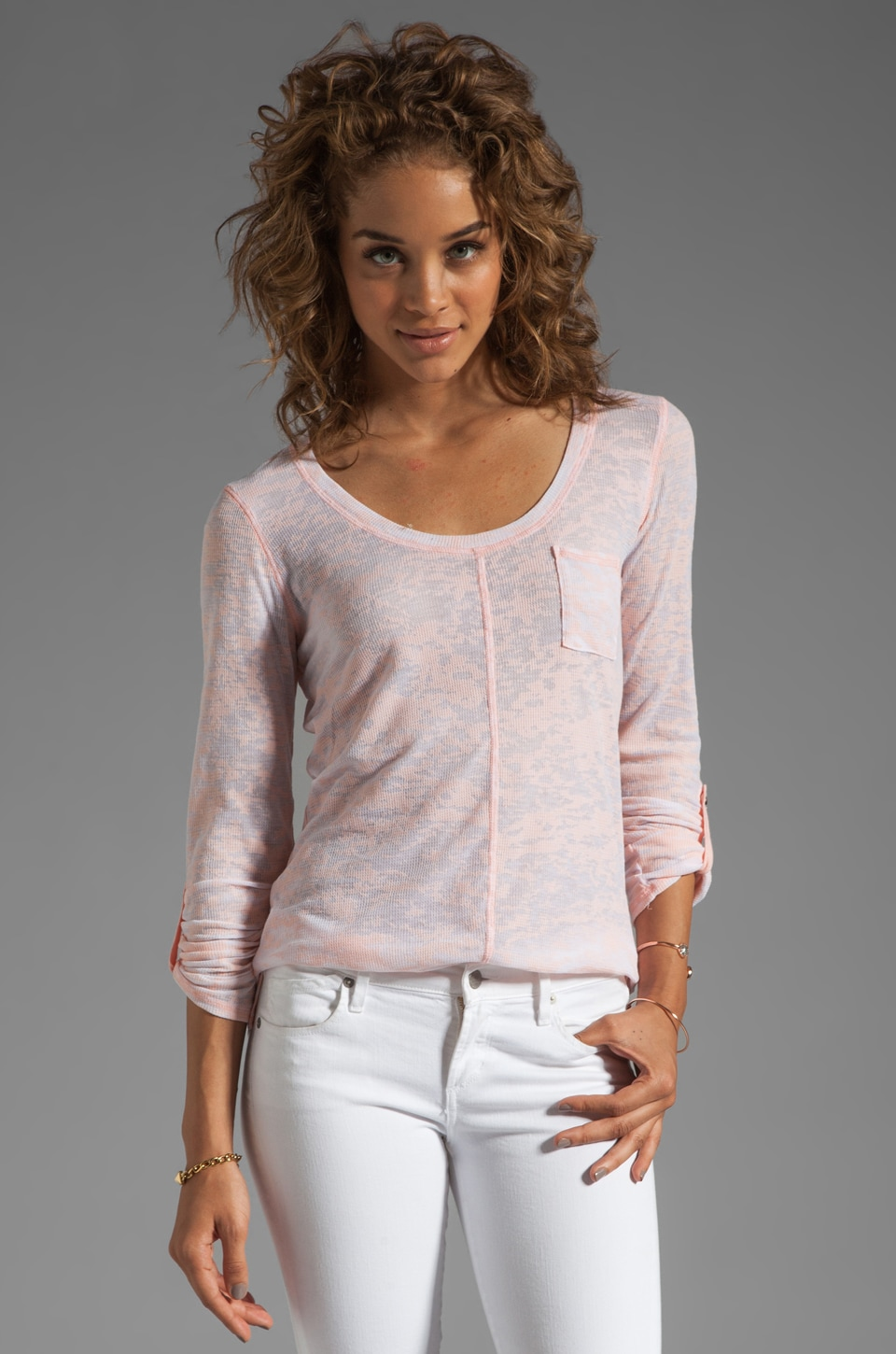 Michael Stars Long Sleeve Scoop Neck Tee in Pink Lily