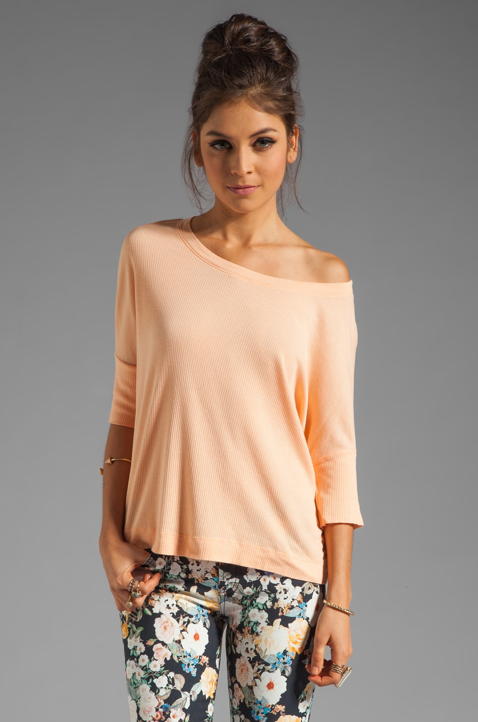 Michael Stars Supima Modal Elbow Sleeve Crop Top in Creamsicle