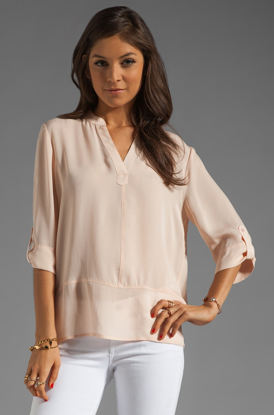 Michael Stars Wovens Cote D'Azur Elbow Sleeve Notched Tunic in Sugar Cane
