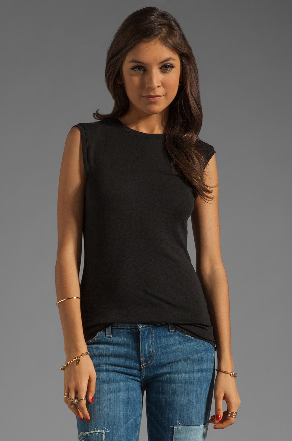 Michael Stars Sleeveless Muscle Tank With Back Scoop in Black