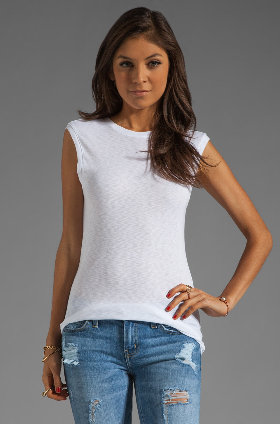 Michael Stars Sleeveless Muscle Tank With Back Scoop in White