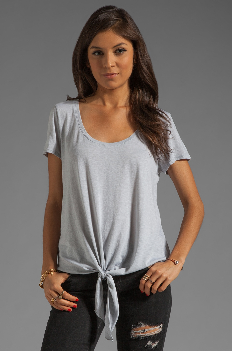 Michael Stars Short Sleeve Scoop Neck With Tie Hem in Chateau