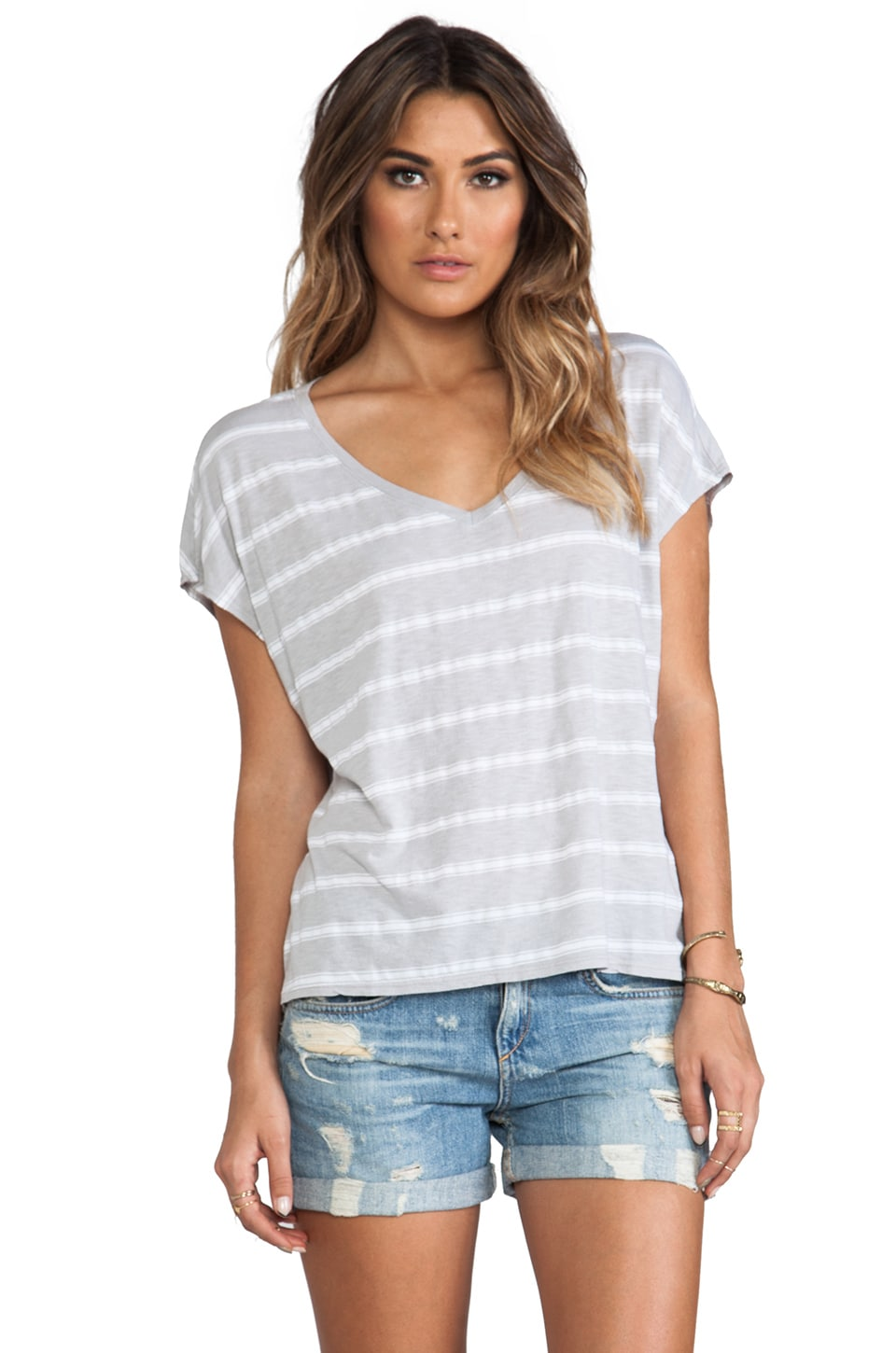 Michael Stars Short Sleeve Scoop Neck Striped Tee in Chateau