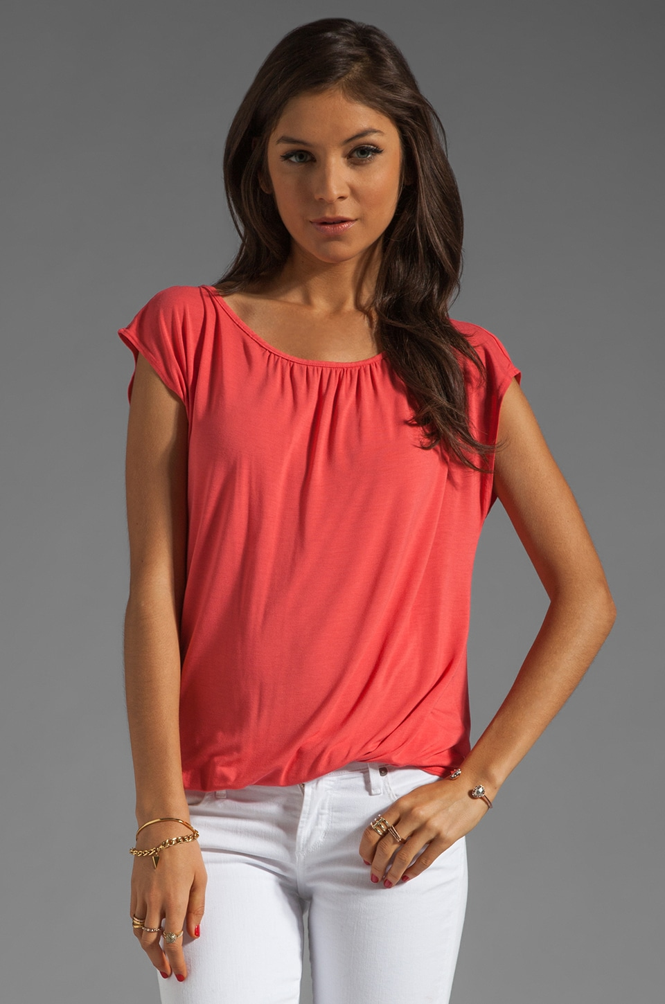 Michael Stars Short Sleeve Boatneck With Keyhole Back Top in Julius