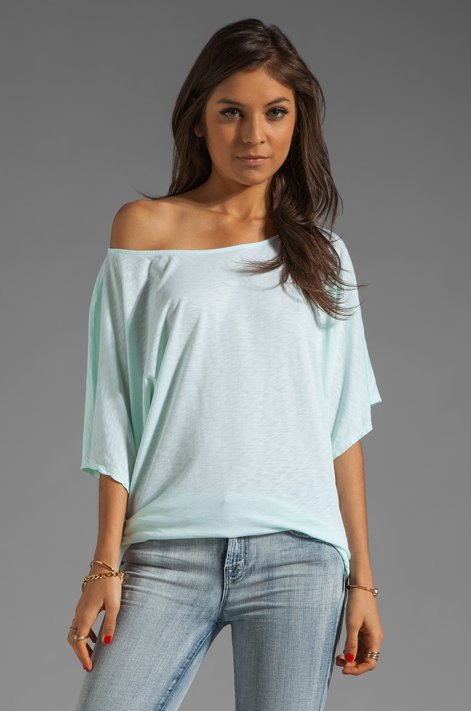 Michael Stars Short Sleeve Off-Shoulder Dolman Top in Dew