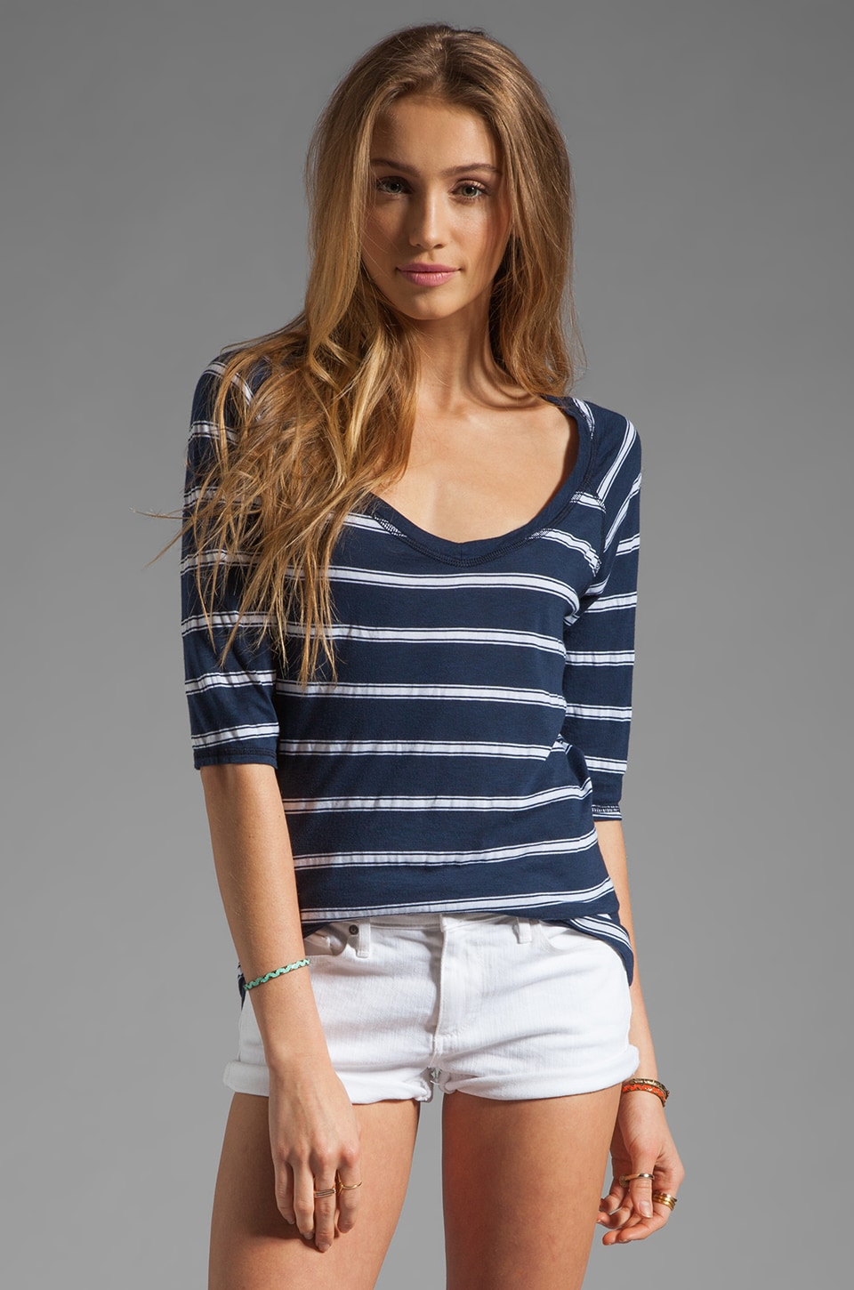 Michael Stars Elbow Sleeve V Neck Striped Raglan in Ship