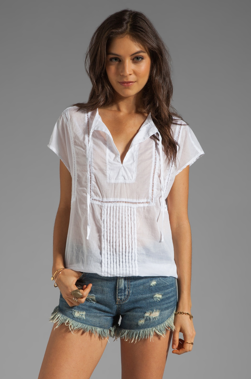 Michael Stars Wovens Tulum Short Sleeve Blouson Hem Peasant Top in White