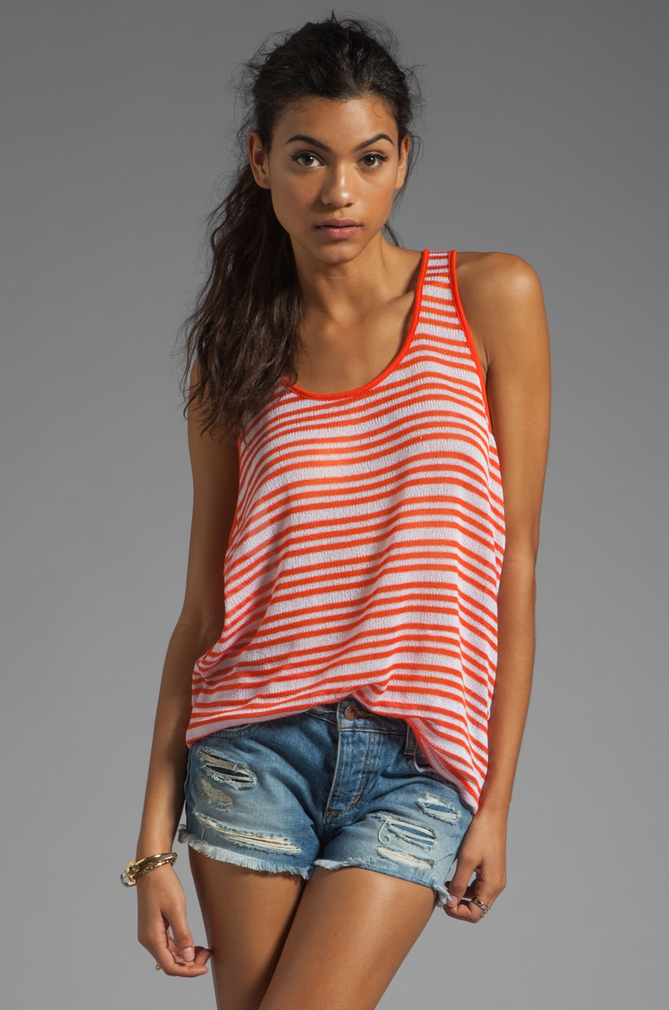 Michael Stars Net Stripe Scoop Neck Slouchy Stripe Tank in Clementine