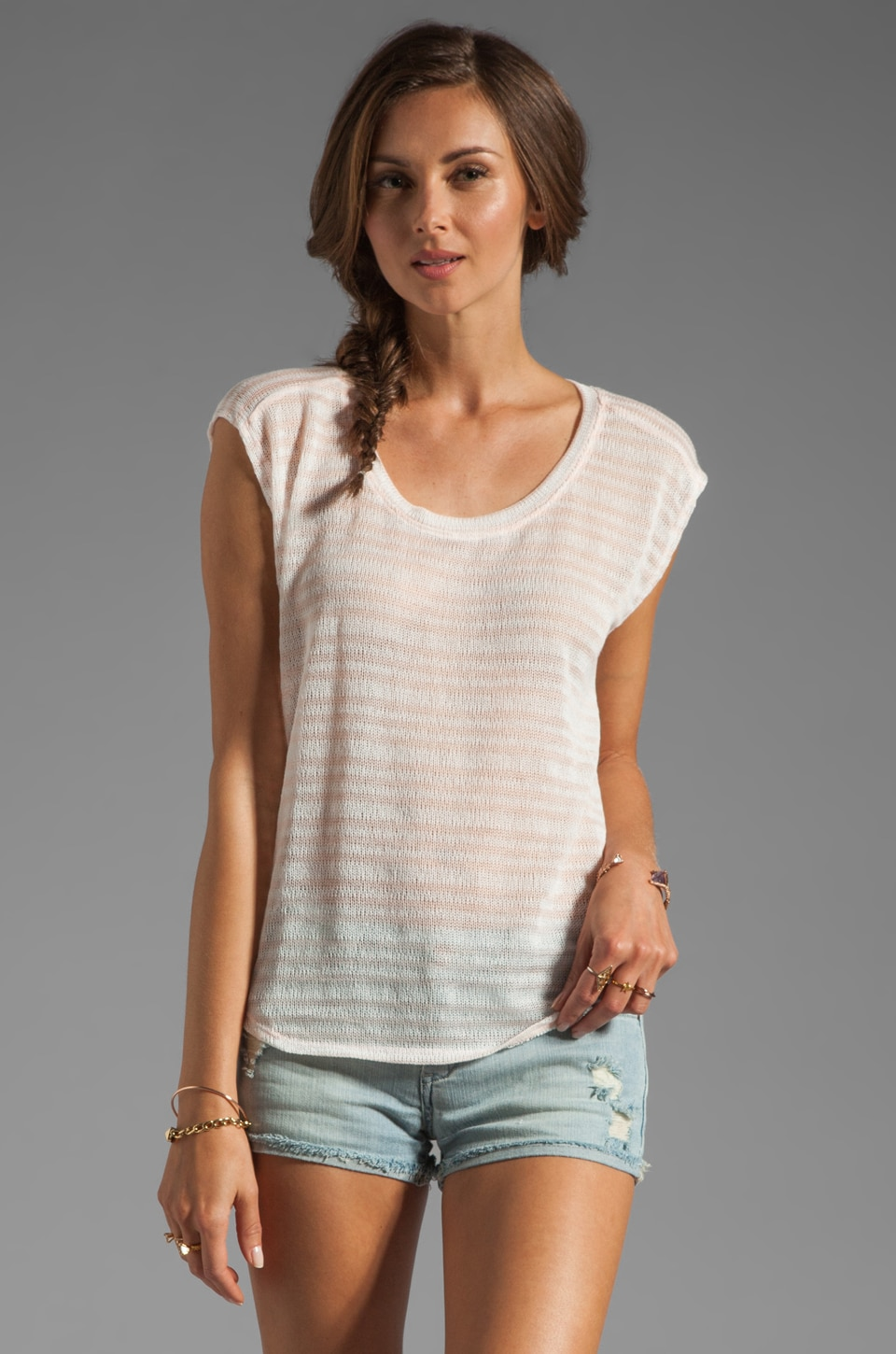 Michael Stars Net Stripe Short Sleeve Scoop Tee in Sweet Pea