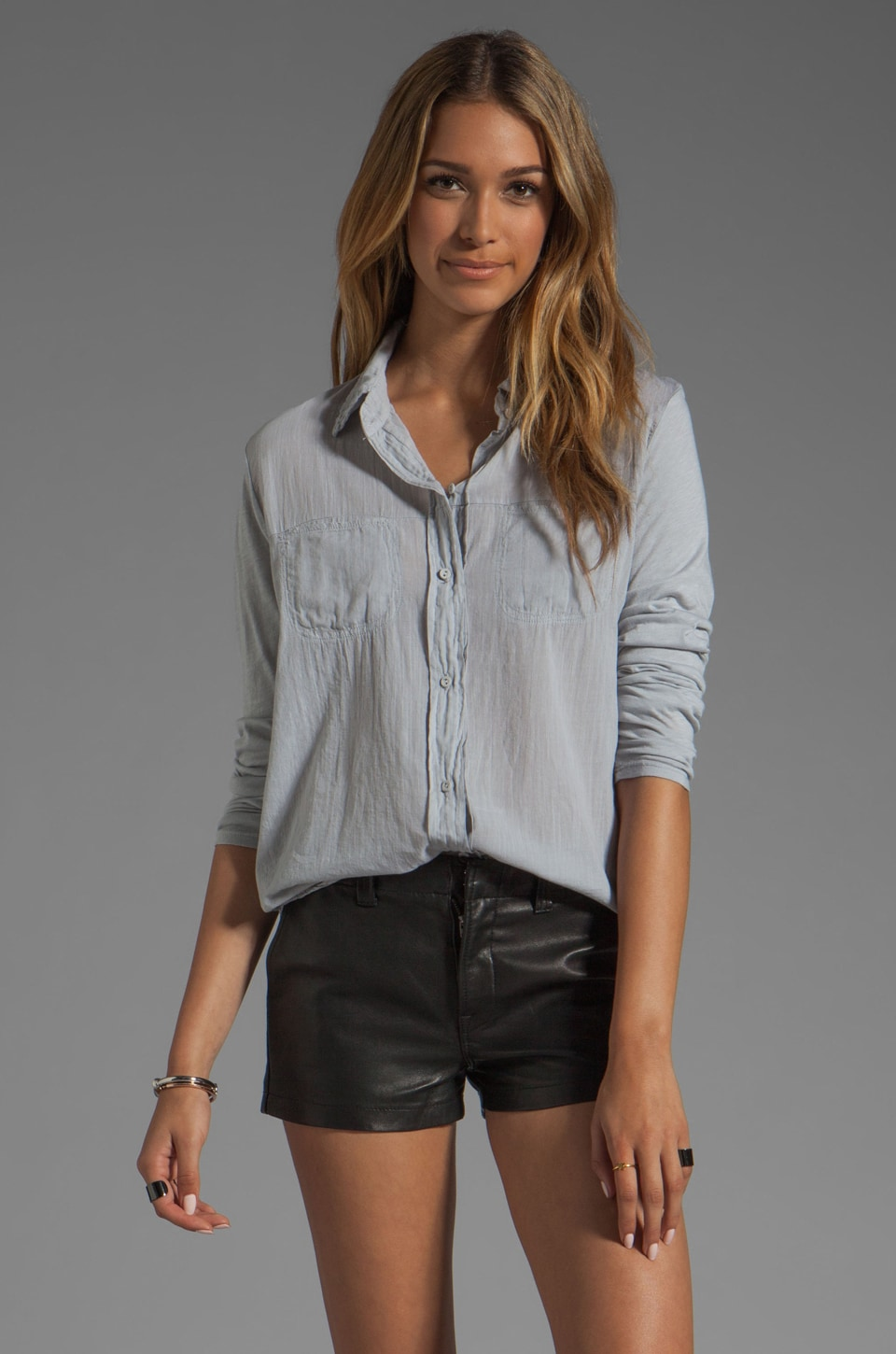 Michael Stars Long Sleeve Shirt with Voile Mix in Chateau