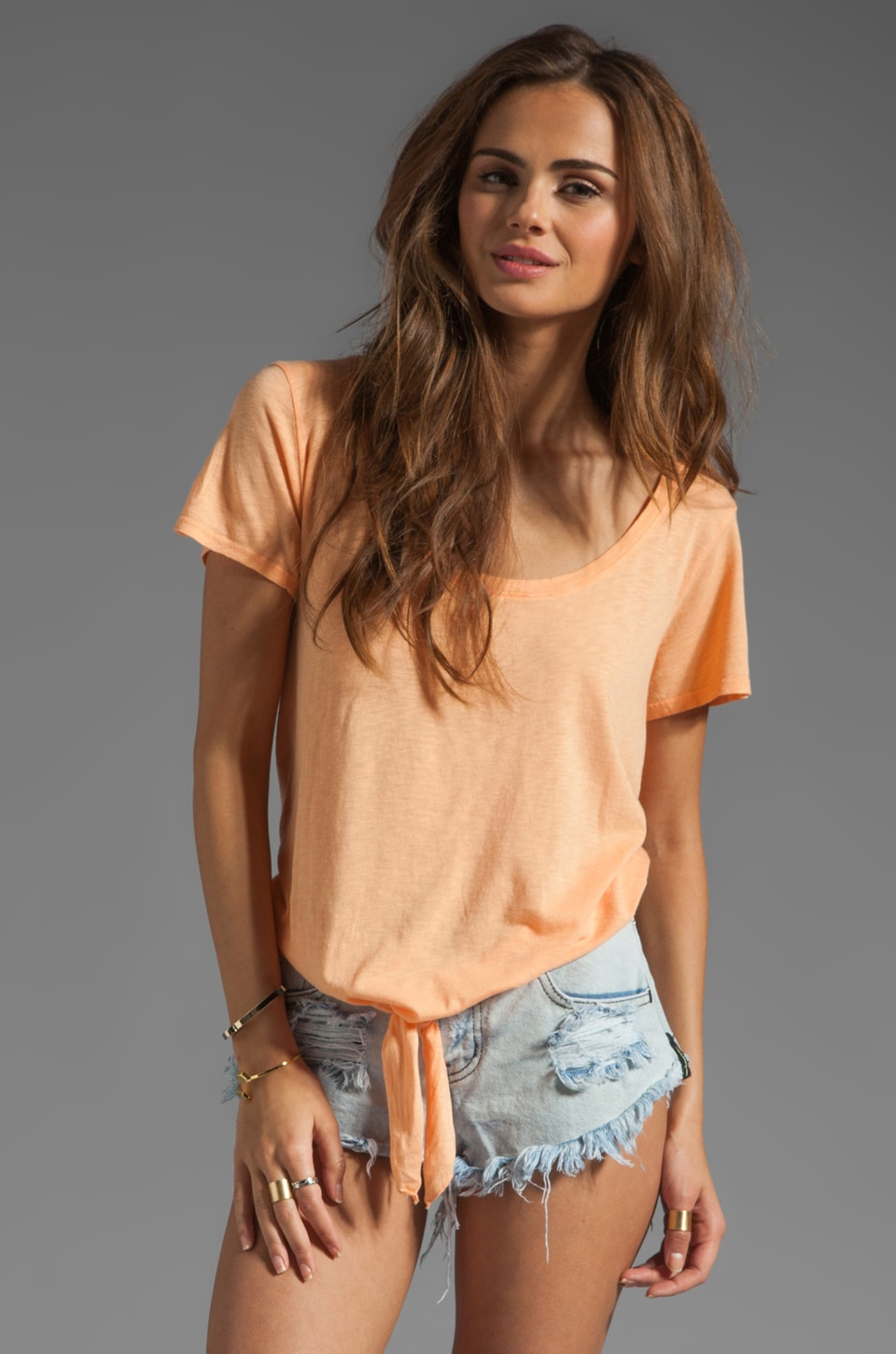 Michael Stars Short Sleeve Scoop Neck with Tie Hem in Creamsicle