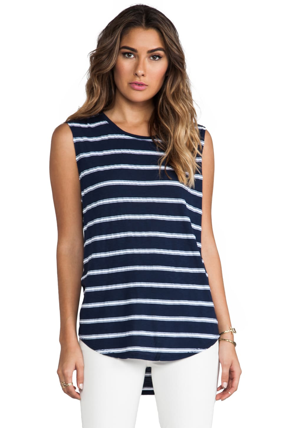 Michael Stars Striped Muscle Tank in Ship
