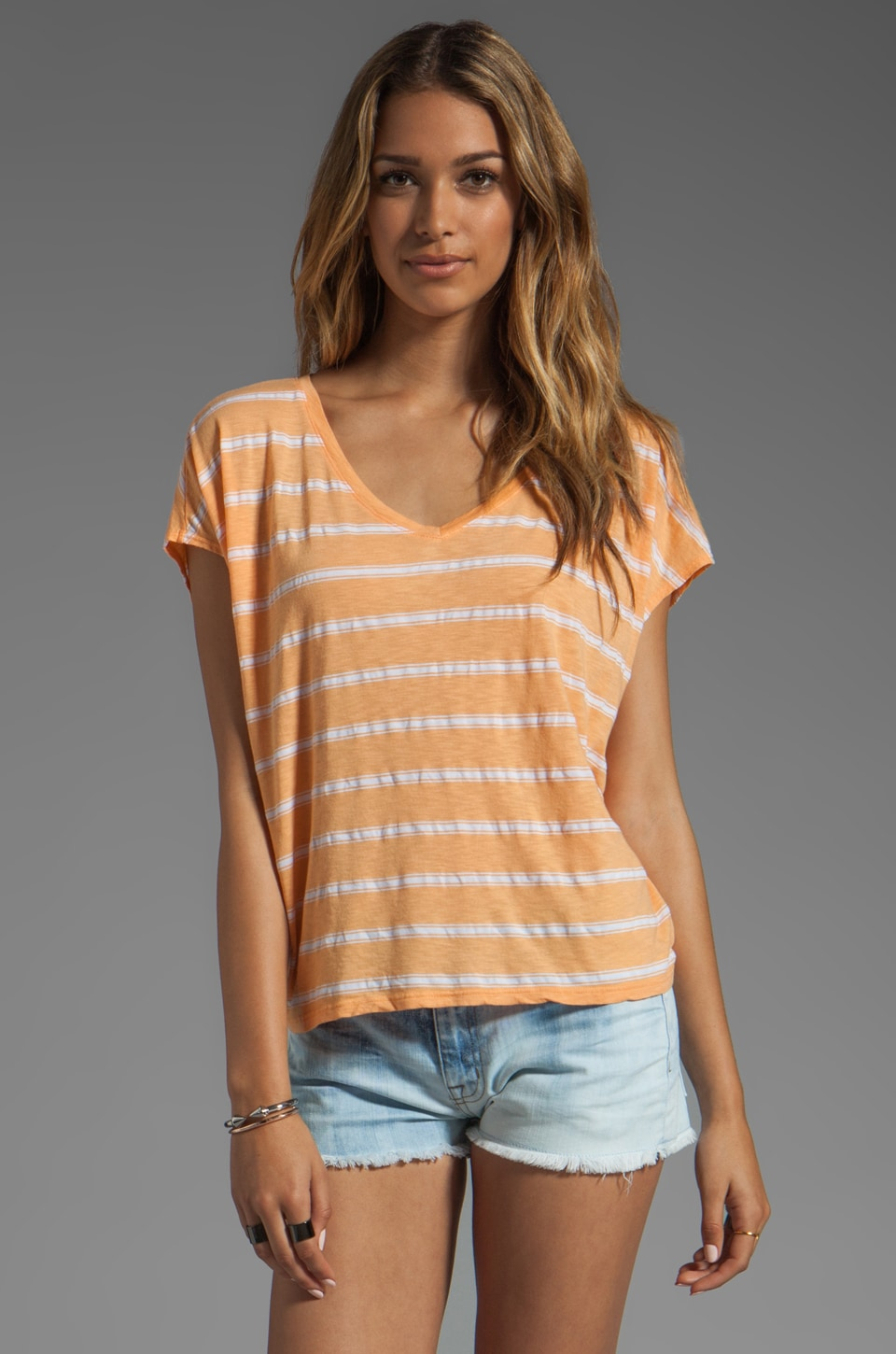 Michael Stars Short Sleeve Striped Scoop Neck Tee in Creamsicle