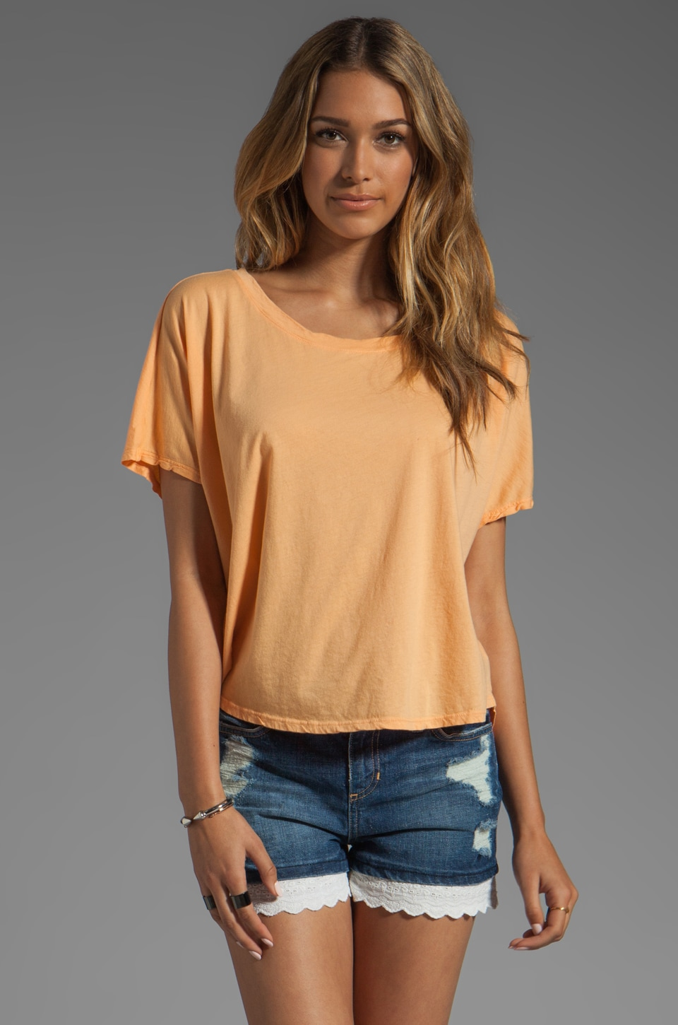 Michael Stars Short Sleeve Wide Neck Hi-Low Crop Top in Creamsicle