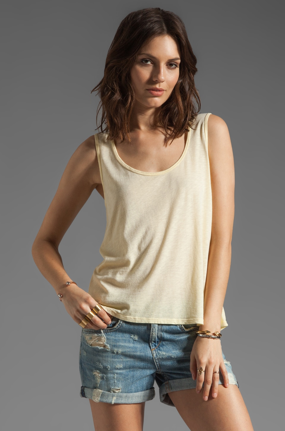 Michael Stars Hi-Low Scoop Tank in Blonde