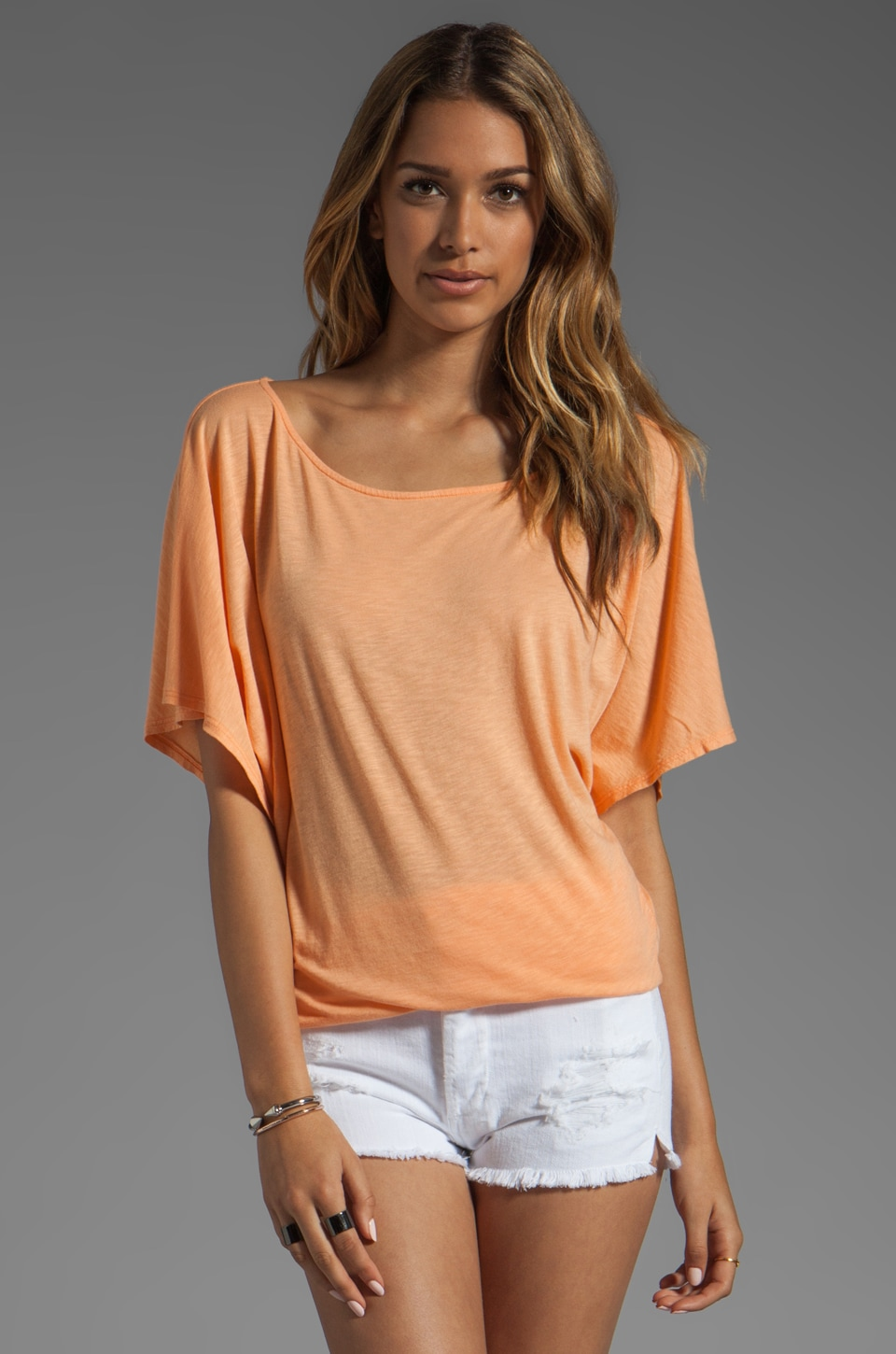 Michael Stars Short Sleeve Off-Shoulder Dolman in Creamsicle