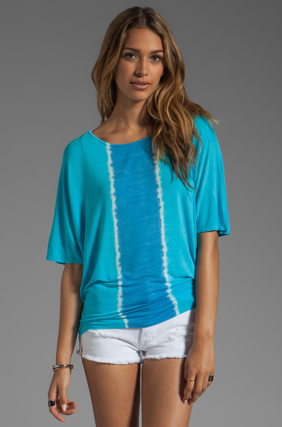 Michael Stars Vertical Stripes Elbow Sleeve Dolman Wide Neck Tee in Hurricane/Neptune