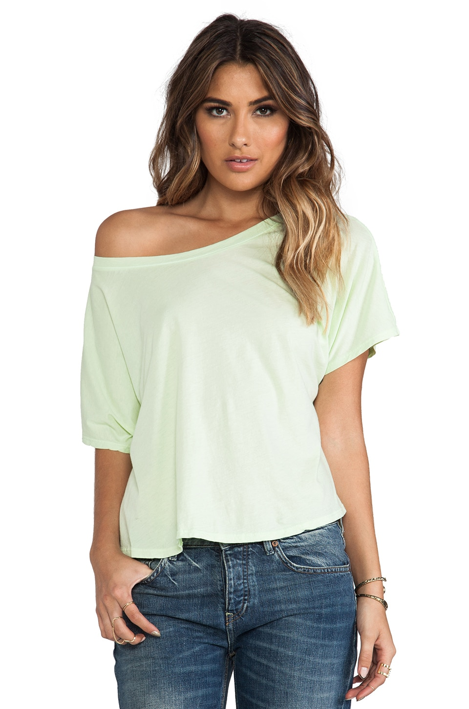 Michael Stars Short Sleeve Wide Neck Hi-Low Crop Top in Mint