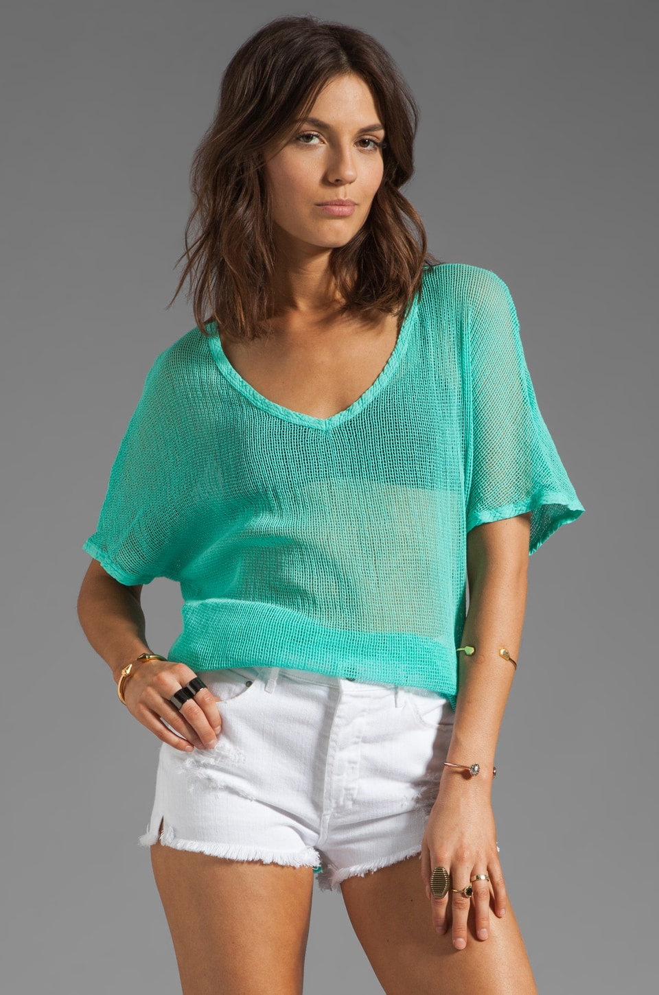 Michael Stars Box Mesh Short Sleeve V Neck Dolman Top in Aruba
