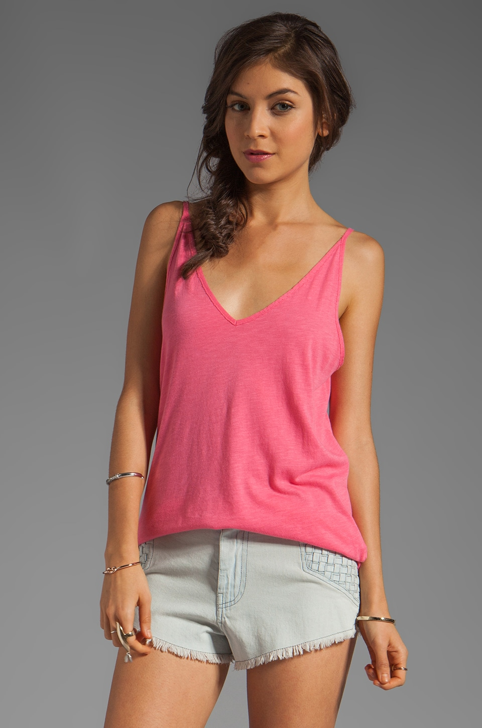 Michael Stars V Neck Cami in Zinnia