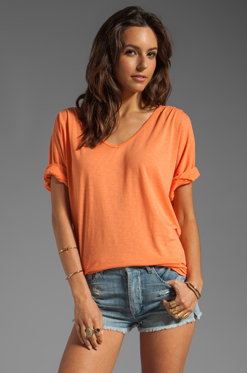 Michael Stars Elbow Sleeve Relaxed V Neck Top in Carrot