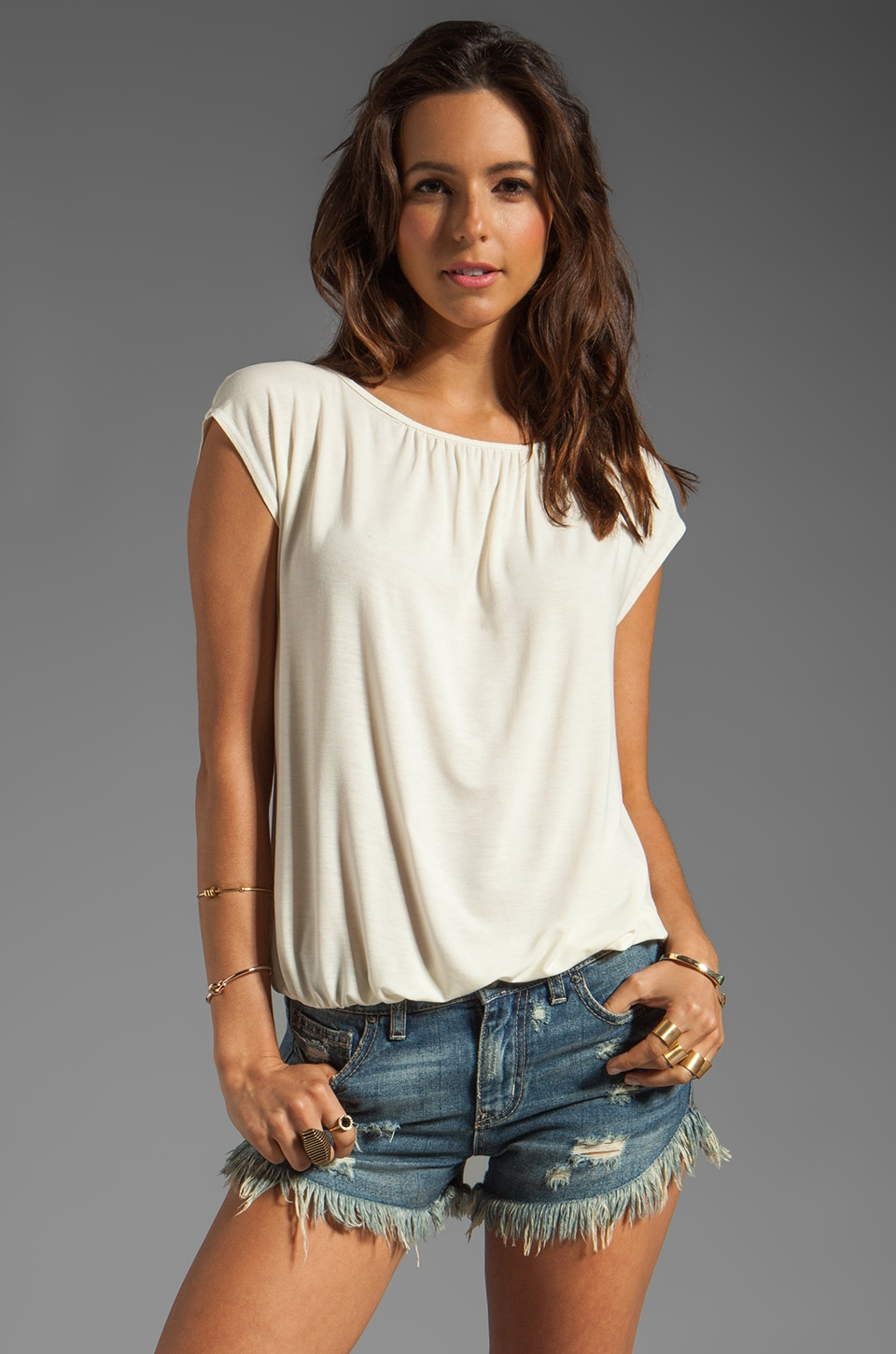 Michael Stars Short Sleeve Boatneck With Keyhole Back in Vanilla