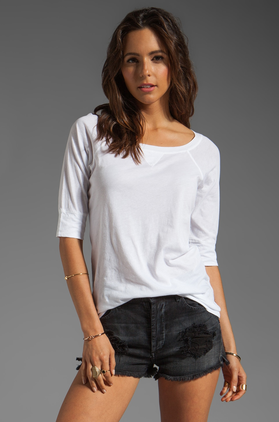 Michael Stars Elbow Sleeve Neck Raglan in White