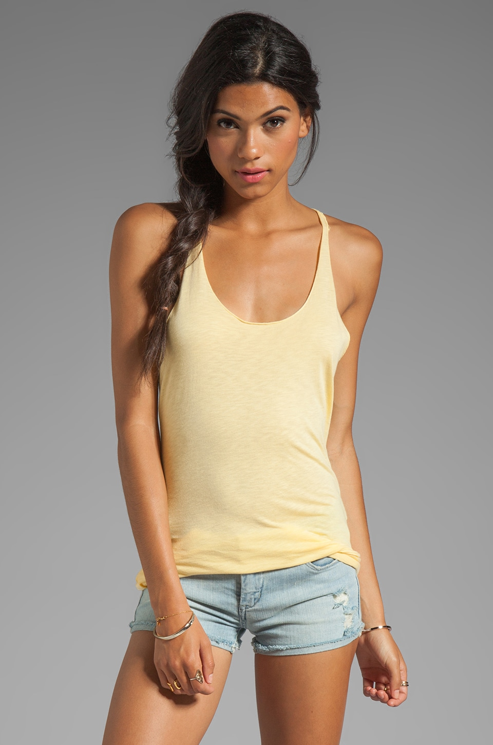 Michael Stars Luxe Slub Scoop Neck Racerback Tank in Lemon