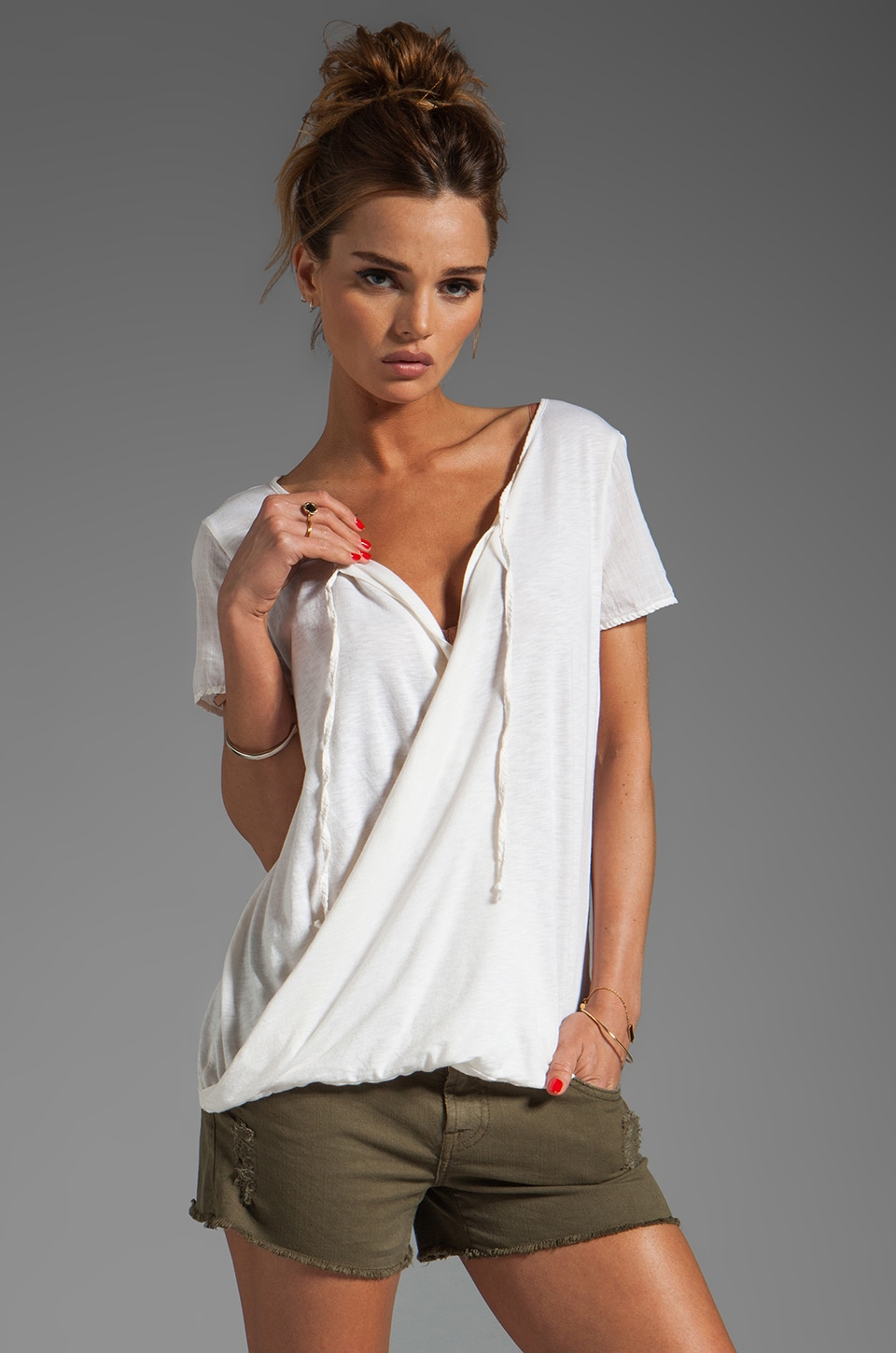 Michael Stars Luxe Slub Short Sleeve Drape Surplice Top in Vanilla