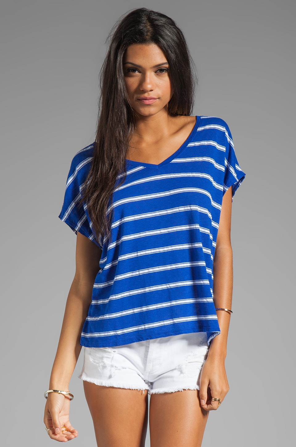 Michael Stars Hampton Stripe Short Sleeve V Neck Tee in Crest