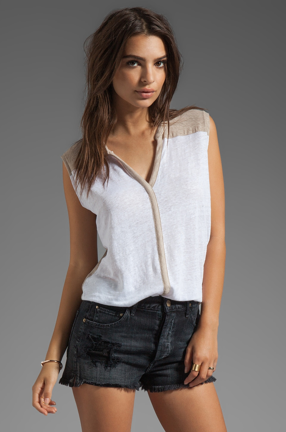 Michael Stars Linen Knit Tees Sleeveless Hi-Low Henley in White