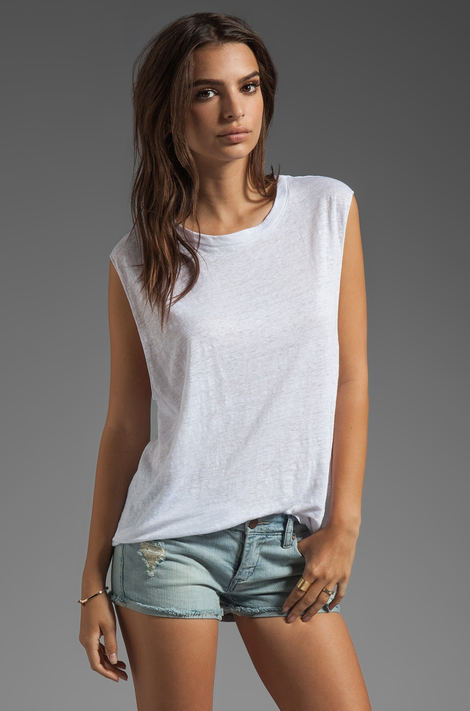 Michael Stars Linen Knit Tees Crew Neck Dropped Armhole Tank in White