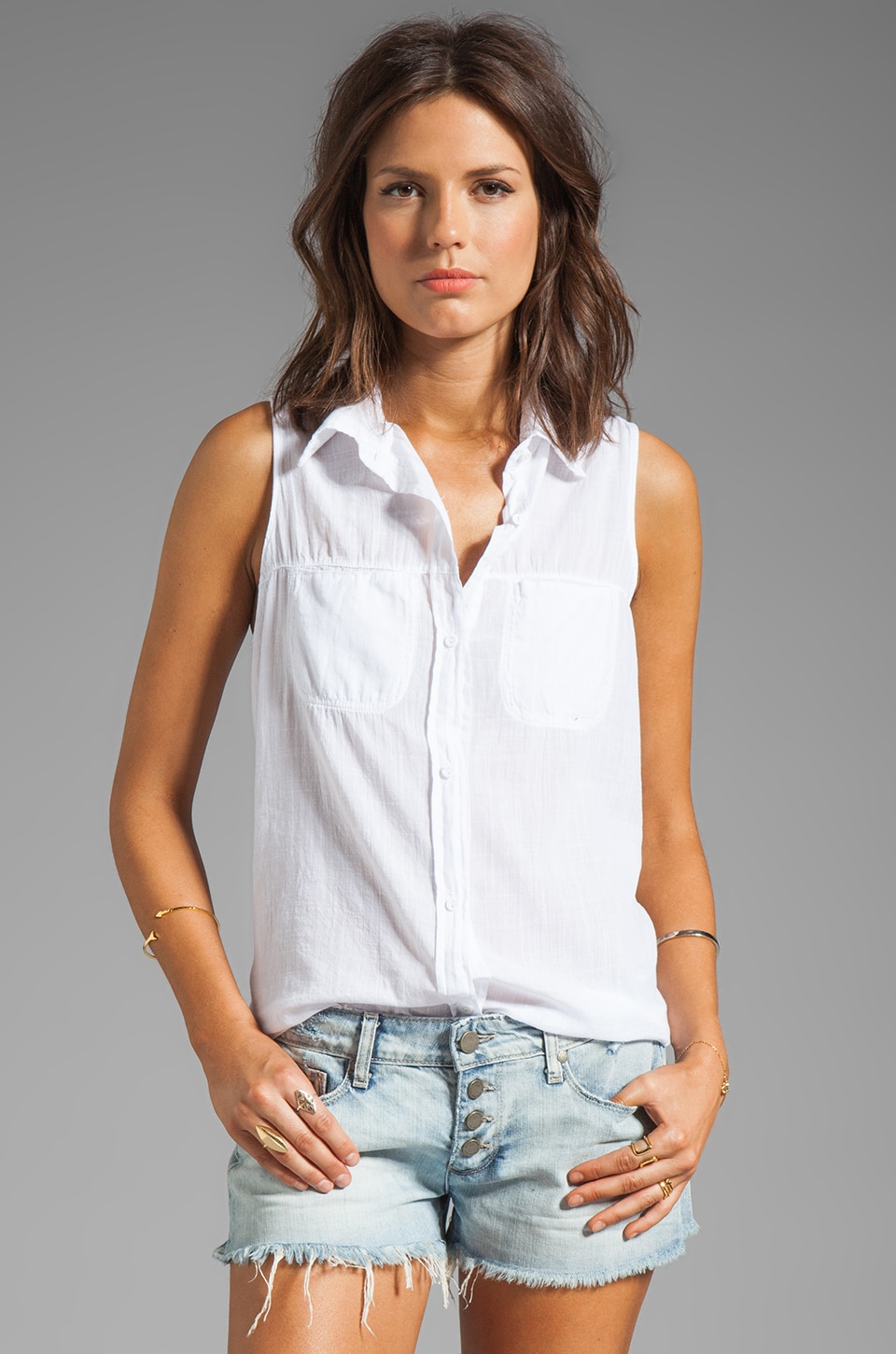 Michael Stars Luxe Slub Sleeveless Collared Button Down in White